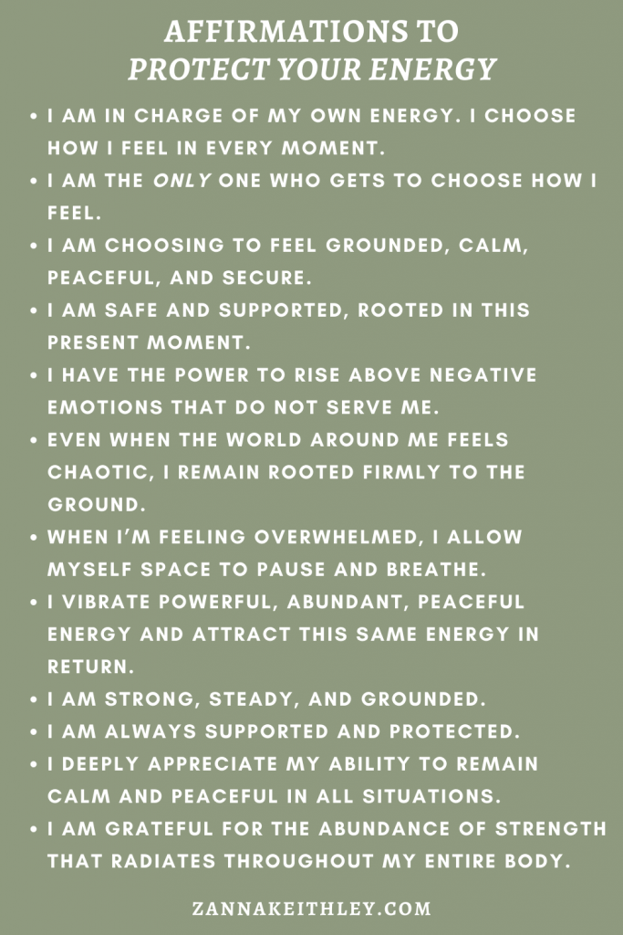 how to protect your energy affirmations
